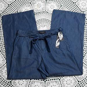 Nine West blue chambray high rise wide leg pants